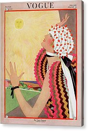 Vogue Cover Featuring A Woman Looking At The Sun Acrylic Print by George Wolfe Plank