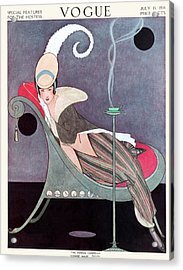 Vogue Cover Featuring A Woman Sitting In A Chair Acrylic Print by Helen Dryden