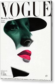 Vogue Cover Featuring A Woman's Face Acrylic Print by Erwin Blumenfeld