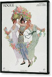 Vogue Cover Featuring Three Women With Flowers Acrylic Print by Sarah Stilwell Weber