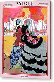 Vogue Cover Featuring Two Women At A Park Acrylic Print by Helen Dryden