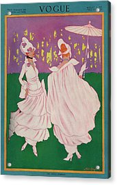 Vogue Cover Featuring Two Women In Pink Gowns Acrylic Print