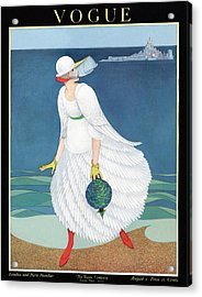 Vogue Cover Featuring Woman At A Beach Acrylic Print