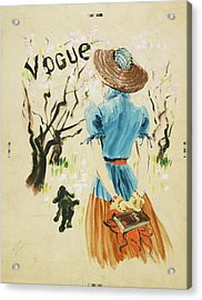 Vogue Cover Featuring Woman Walking Acrylic Print by Rene Bouet-Willaumez