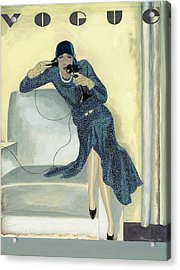 Vogue Cover Illustration Featuring Woman Talking Acrylic Print