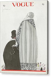 Vogue Cover Illustration Of A Couple Entering Acrylic Print by Georges Lepape