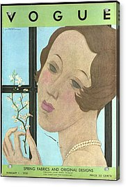 Vogue Cover Illustration Of A Woman Holding A Twig Acrylic Print by Georges Lepape
