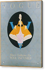 Vogue Cover Illustration Of A Woman In An Orange Acrylic Print by Dorothy Edinger
