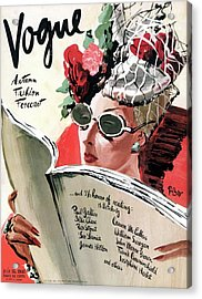 Vogue Cover Illustration Of A Woman Reading Acrylic Print
