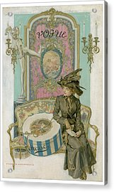 Vogue Cover Illustration Of A Woman Sitting Acrylic Print by Frank X. Leyendecker