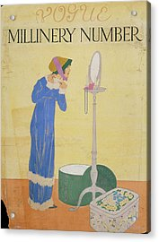 Vogue Cover Illustration Of A Woman Trying Acrylic Print by Helen Dryden