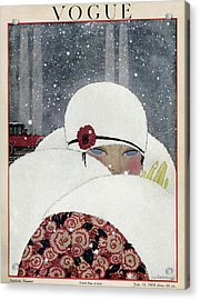Vogue Cover Illustration Of A Woman Wearing A Fur Acrylic Print by Georges Lepape