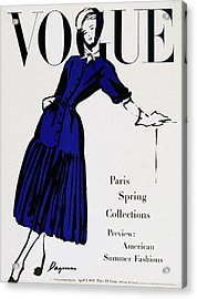 Vogue Cover Illustration Of A Woman Wearing Blue Acrylic Print by Dagmar