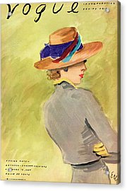 Vogue Cover Illustration Of A Woman Wearing Straw Acrylic Print by Carl Oscar August Erickson
