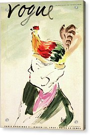Vogue Cover Illustration Of A Woman With A Hen Acrylic Print