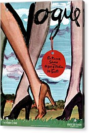 Vogue Cover Illustration Of Female Legs Wearing Acrylic Print by Carl Oscar August Erickson