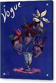 Vogue Cover Illustration Of Four Female Faces Acrylic Print