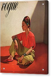 Vogue Cover Illustration Of Model Helen Bennett Acrylic Print by Horst P. Horst