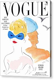 Vogue Cover Illustration Of Two Women Standing Acrylic Print by Marcel Vertes