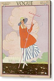 Vogue Cover Illustration Of Woman Holding Rake Acrylic Print by Helen Dryden