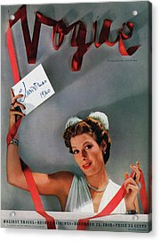 Vogue Cover Of Helen Bennett Wearing Tiffany & Acrylic Print by John Rawlings