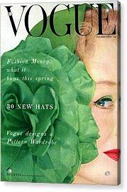 Vogue Cover Of Nina De Voe Acrylic Print by Erwin Blumenfeld