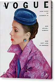 Vogue Cover Of Suzy Parker Acrylic Print by John Rawlings