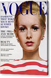 Vogue Cover Of Twiggy Acrylic Print by Bert Stern