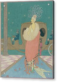 Vogue Illustration Of A Woman In A Pink Cape Acrylic Print by Helen Dryden