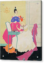 Vogue Illustration Of Two Women Around A Vanity Acrylic Print by Helen Dryden