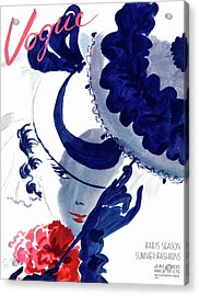 Vogue Magazine Cover Featuring A Woman Holding Acrylic Print by Jean Pages