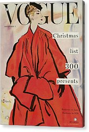 Vogue Magazine Cover Featuring A Woman In A Large Acrylic Print by Rene R. Bouche