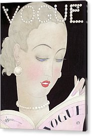 Vogue Magazine Cover Featuring A Woman Reading Acrylic Print