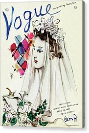 Vogue Magazine Cover Featuring An Illustration Acrylic Print by Christian Berard