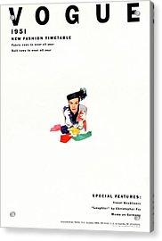 Vogue Magazine Cover Featuring Model Lillian Acrylic Print by Erwin Blumenfeld