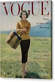Vogue Magazine Cover Featuring Model Va Taylor Acrylic Print by Karen Radkai