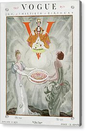 Vogue Magazine Cover Featuring Two Women Carrying Acrylic Print by Georges Lepape & Pierre Brissaud