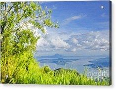 Volcano Within A Lake Acrylic Print by George Paris