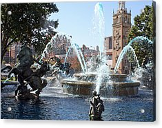 Jc Nichols Memorial Fountain In Blue Acrylic Print by Ellen Tully