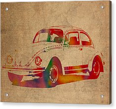 Volkswagen Beetle Vintage Watercolor Portrait On Worn Distressed Canvas Acrylic Print by Design Turnpike