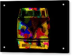 Volkswagen Camper Colorful Abstract On Black Acrylic Print
