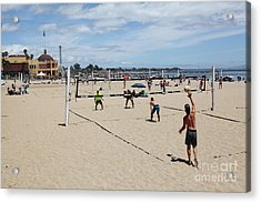 Volleyball At The Santa Cruz Beach Boardwalk California 5d23837 Acrylic Print by Wingsdomain Art and Photography