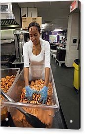 Volunteer At A Community Kitchen Acrylic Print by Jim West