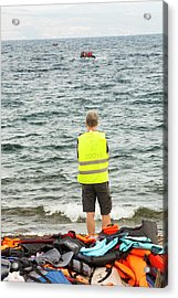 Volunteer Helping Syrian Refugees Acrylic Print