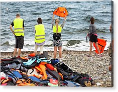 Volunteers Helping Refugees Acrylic Print