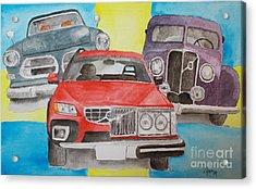 Acrylic Print featuring the painting Volvo Nostalgi by Eva Ason