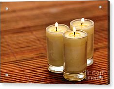 Votive Candle Burning Acrylic Print by Olivier Le Queinec