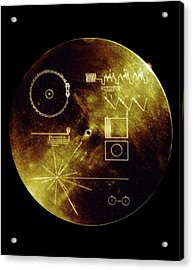 Voyager Spacecraft Plaque Acrylic Print by Nasa/science Photo Library