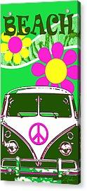 Vw Beach  Green Acrylic Print