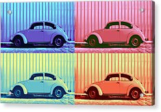 Vw Beetle Pop Art Quad Acrylic Print by Laura Fasulo